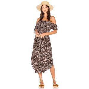 Amuse Society Sheer Bliss Floral Midi Dress EUC